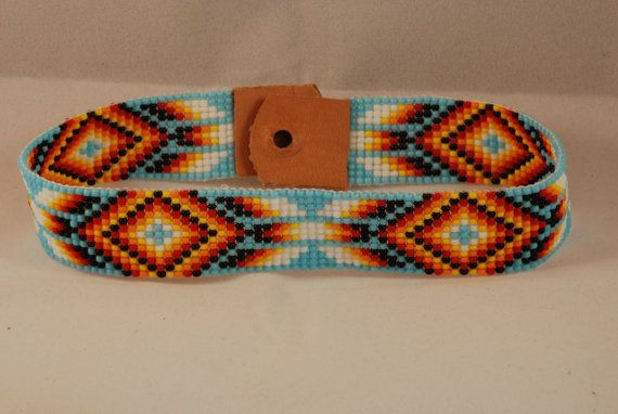 Native american beaded rosettes strips headbands apologise