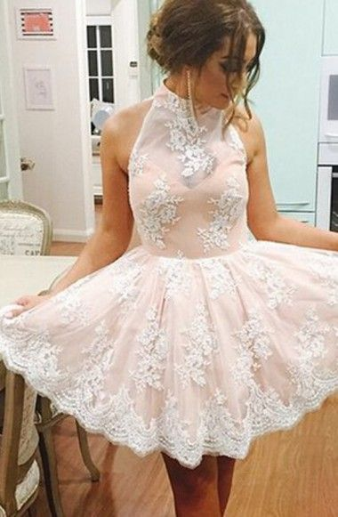 Elegant Champagne High Neck Homecoming Dresses,Sleeveless Homecoming Dresses,Short Illusion Back Homecoming Dress with White Lace