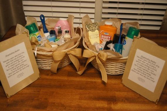 Custom his and her reception hospitality baskets by for Wedding reception bathroom ideas