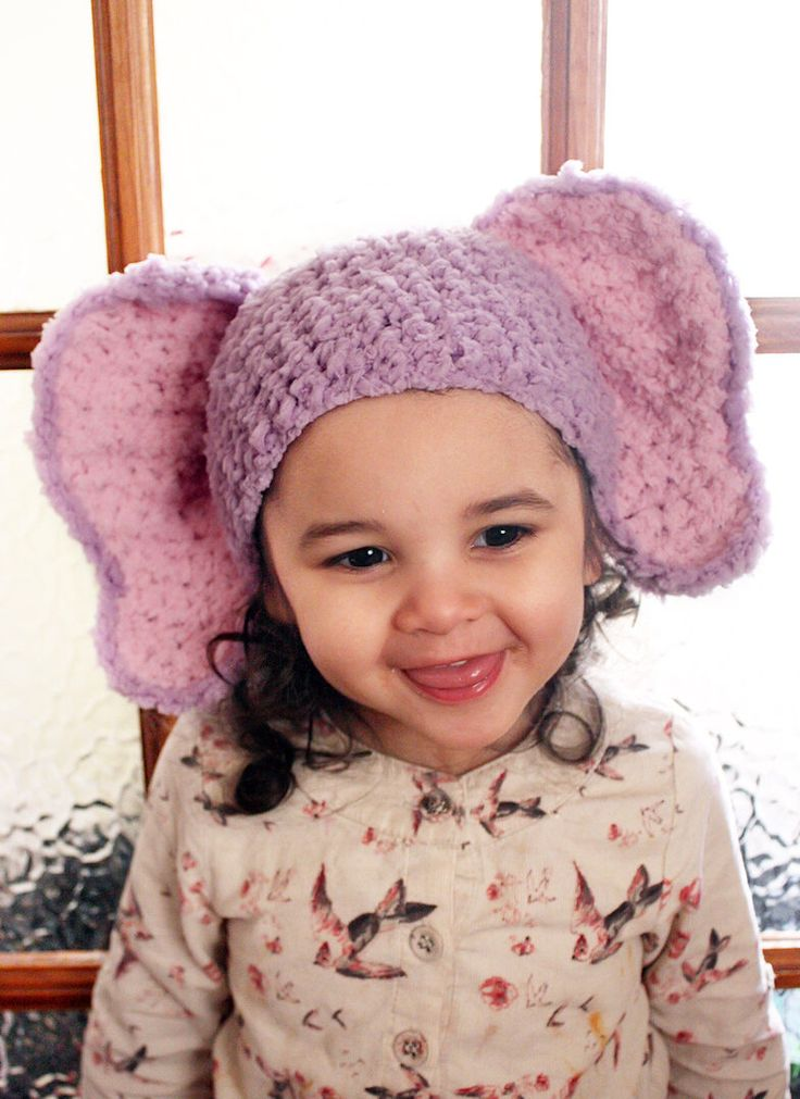 SALE* Crochet lilac and baby pink inner ear elephant beanie hat. Handmade with love by Babamoon   - 6 to 12m -   * Can be made in a choice of colours  * Can by made in sizes Preemie to Adult  * Get 10% off all orders this December!  * Eligible orders Ship for Free!  #etsy #clothing #costume #children #purple #pink #elephant #hat