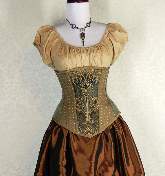 """Victorian Patchwork Longer Length Underbust Corset - Deluxe - Teal/Green/Copper/Brown - Corset Size 24, Fits Waist 27""""-29"""" on Etsy, $160.00"""