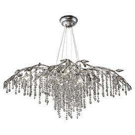 """Bring organic-chic style to your living room, dining room, or foyer with this beautiful chandelier, showcasing a branch-inspired silhouette and cascading crystal accents.   Product: ChandelierConstruction Material: Steel and crystalColor: Mystic silverFeatures: 120"""" WireAccommodates: (12) 20 Watt G4 halogen bulbs - not includedDimensions: 15.5"""" H x 40""""W"""