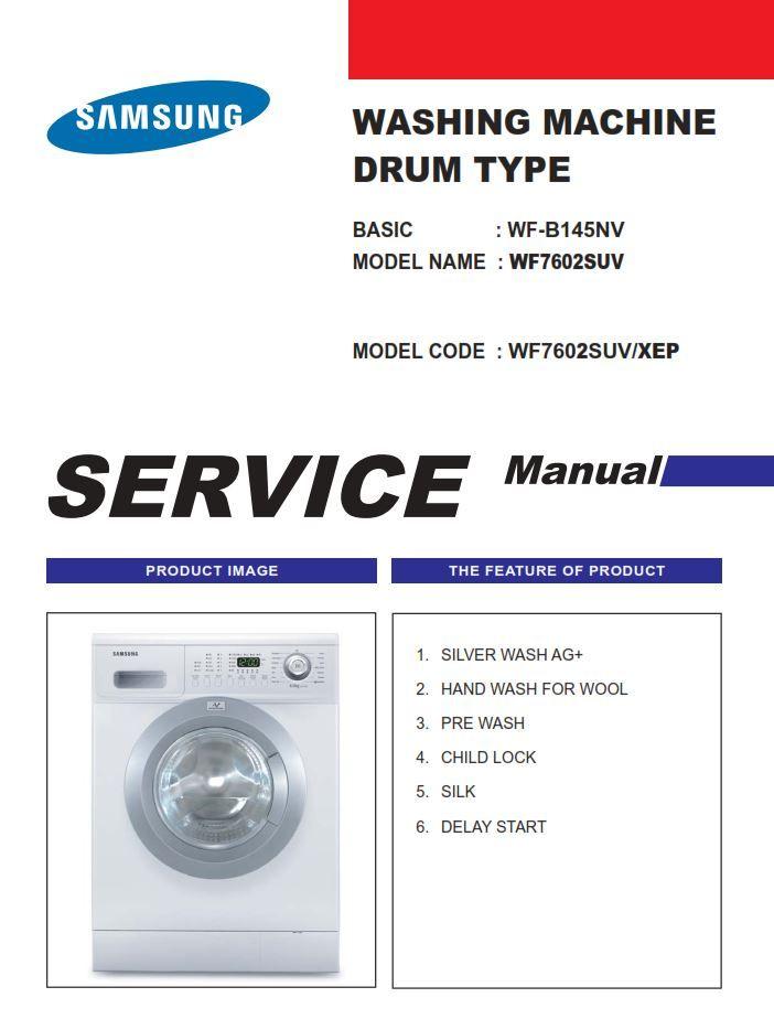 Samsung Wf7604suv Wf7602suv Wf7600suv Washer Service Manual Samsung Manual Washing Machine Samsung Washer