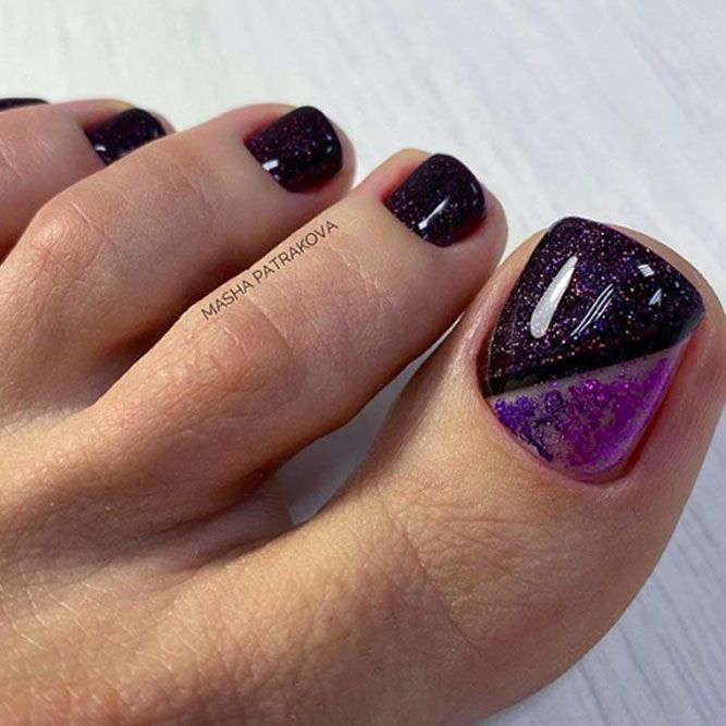 55 Original Toe Nail Colors To Try Out Naildesignsjournal Toe Nail Color Glitter Toe Nails Purple Toe Nails