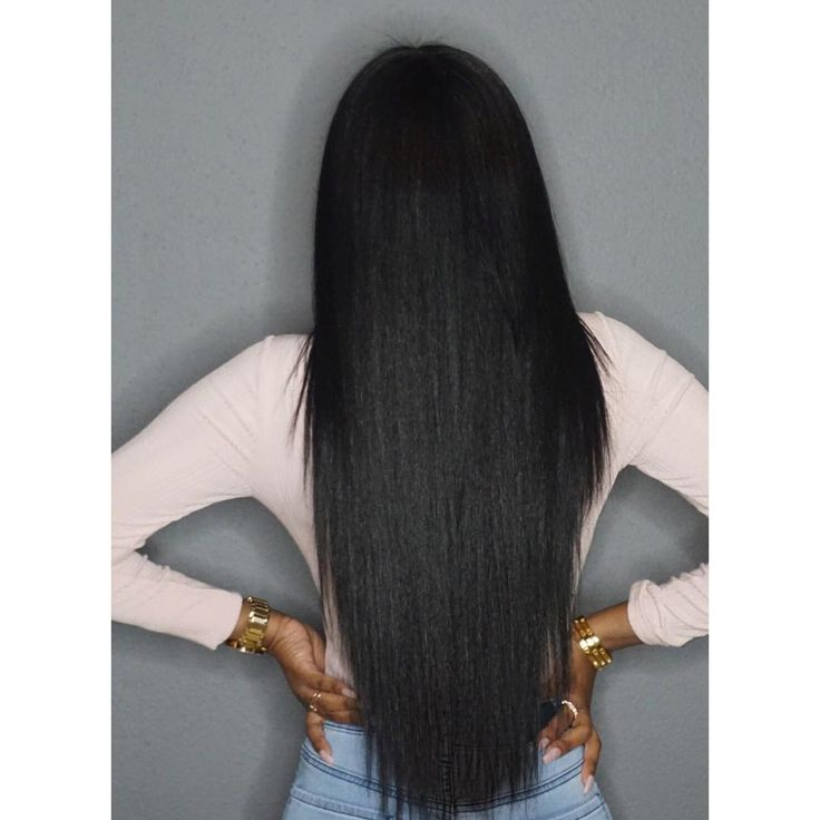 This is her natural hair straightened. #Glamtwinz334