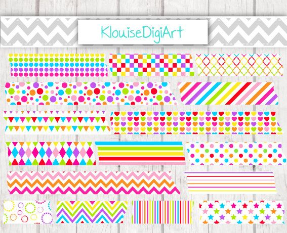 16 Rainbow Colorful Printable Washi Tape Clipart PNG files - Personal and Small Commercial Use (0056)