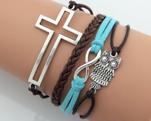 Brown Owl and Cross Multi Layered Infinity Bracelet