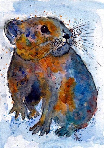 Siebenschläfer -Original von *zeitgenössische kunst von maria-mercedes* auf DaWanda.com Watercolor painting