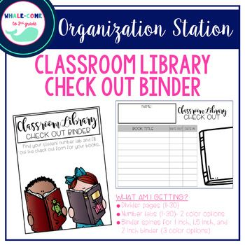 Classroom Library Checkout Binder- UPDATED DESIGN #whalcometo2ndgrade #classroomlibrary #classroomorganization