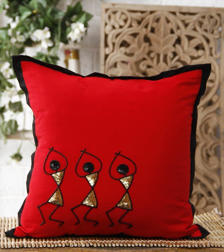 Red Hand Embroidered Warli Cushion Cover