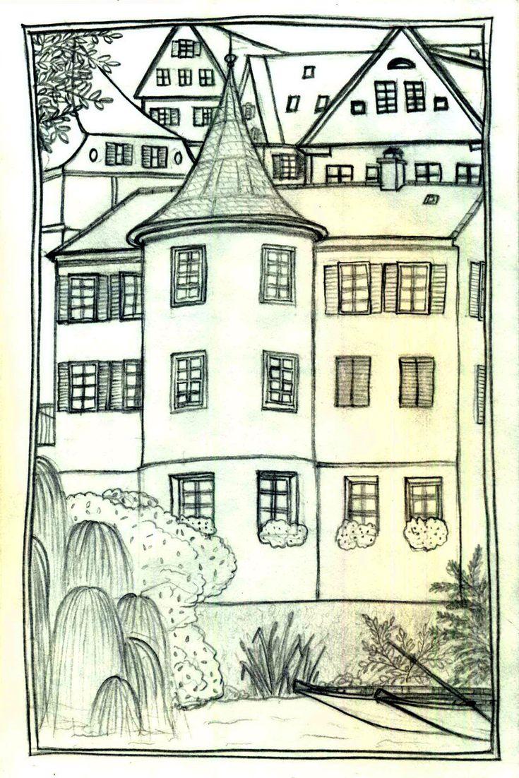 Tübingen, black-white, tower of Hölderlin, Germany, small town