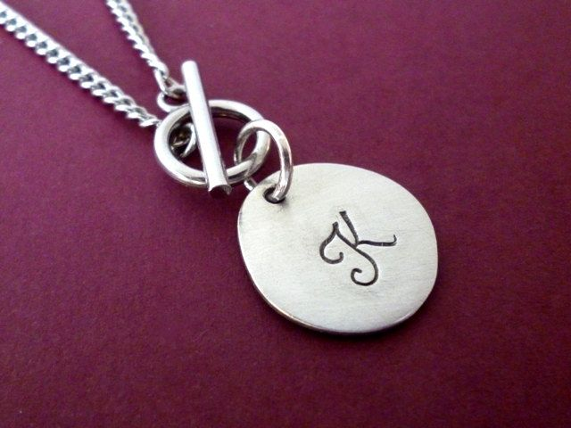 Monogram Necklace, Necklace with Initial, T-Bar Necklace, Personalised Necklace, Necklace with Initial Charm, Pewter Initial Charm Necklace by YujuUK on Etsy  Just got to have one of these myself :-)