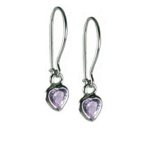 Lavender Purple Cubic Zirconia and Sterling Silver Heart Childrens Earrings AzureBella Jewelry. $10.63. Safety catch ear wires. .925 sterling silver. Diamond-like sparkling cubic zirconia