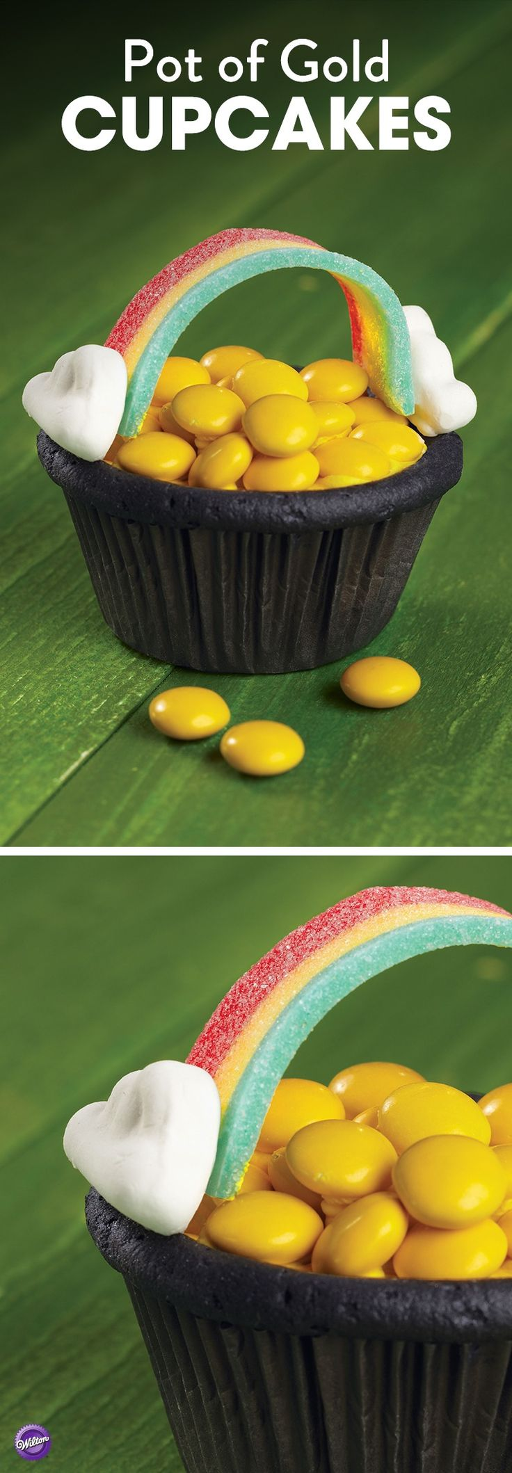 This Pot of Gold Cupcake is so fun to make and perfect as St. Patrick's Day Treats!
