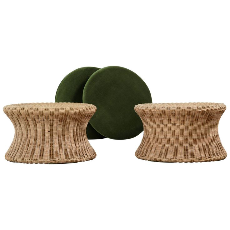 Pair of Eero Aarnio Cane Stools with Green Seat Pads, Finland, 1960s