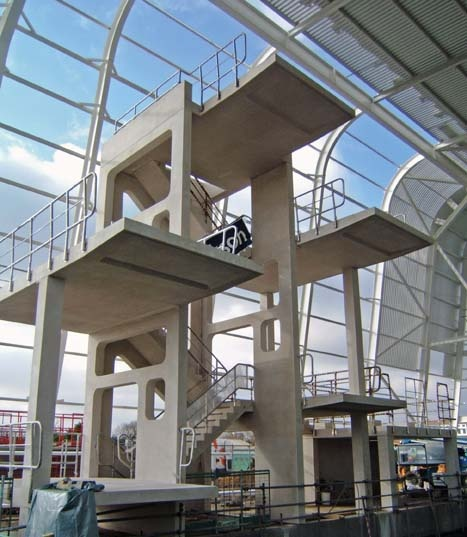 Thorp Precast's involvement with the Olympic Village project began with the white architectural precast concrete Garrons Pool in Southend, the UK's first precast concrete dive tower, which was used as a training facility for the GB Olympic Diving Team.