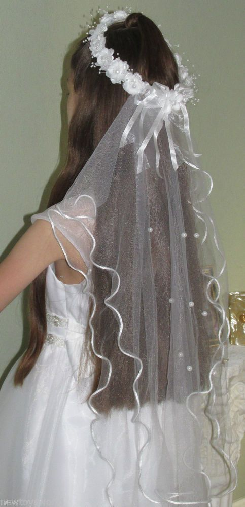 "First Communion Veil one size Floral Crown,long 25"" Bridal Flower Girl  #Accessory"