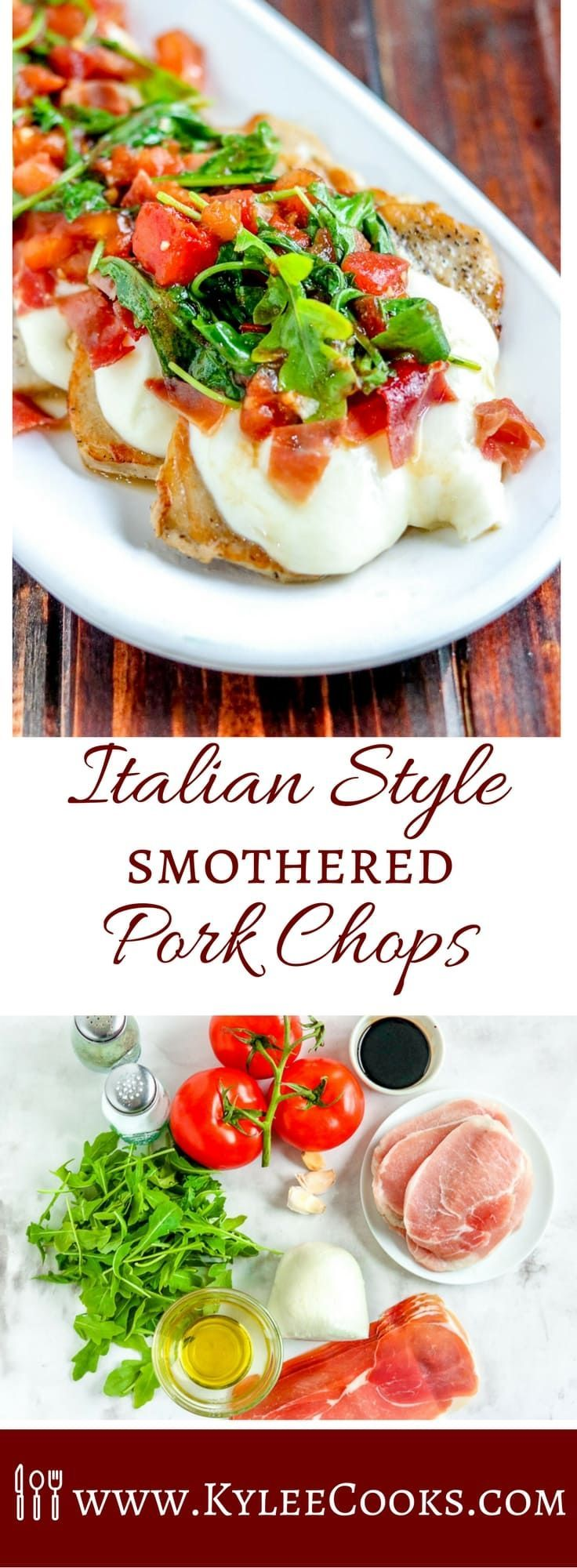 Fresh mozzarella, arugula, tomatoes and balsamic vinegar come together to amp up your weeknight pork chop dinner. Be the family hero, with these Italian Style Smothered Pork Chops!