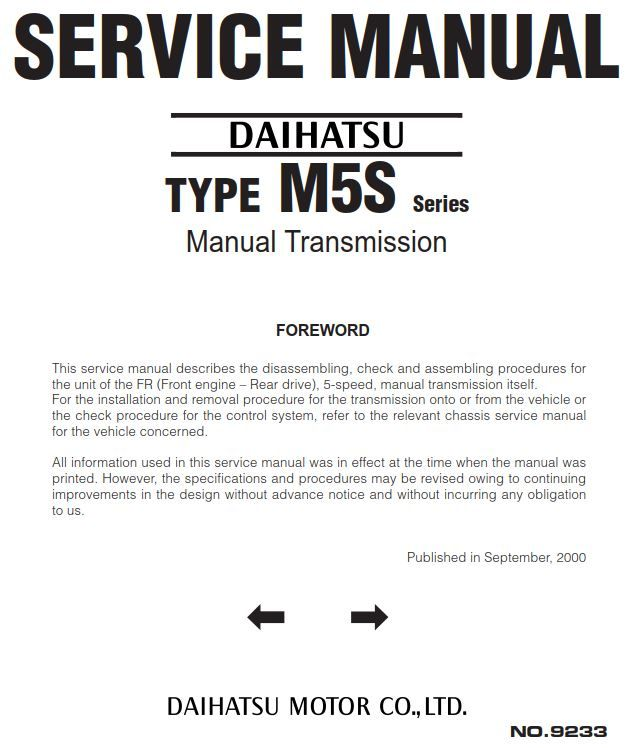 New Post Daihatsu Type M5s Series Manual Transmission 9233 Has Been Published On Procarmanuals Com Https Proc Daihatsu Manual Transmission Transmission