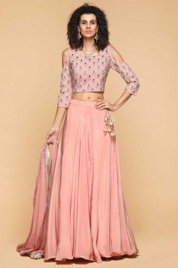 2d828cddda9 Peach Pink Lehenga Choli - 1947 robe femme de fête