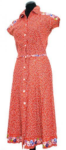 Original 1970s floral dress, with hip belt, front buttons and embroidery on shoulders and on the verge.