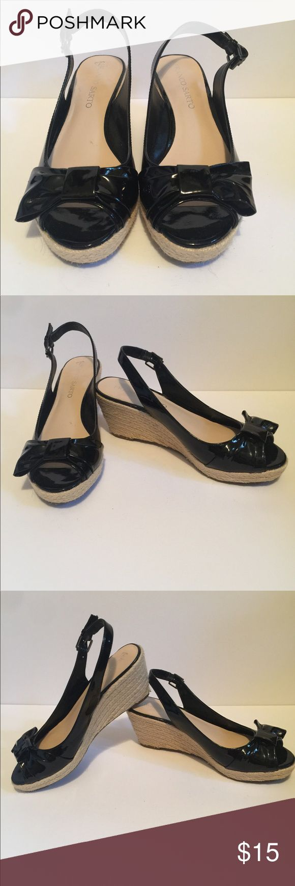 """Black Franco Sarto Wedges Super cute, fun and comfy! These Franco Sarto """"Chart"""" wedges were only worn once, like New condition, great deal for practically new sandals. They have a half cute bow on the front and peep toe to show off your pedicure! The wedge is 2.5 inches with a 3/4 platform in front. Size 7.5. True to size. Franco Sarto Shoes Sandals"""