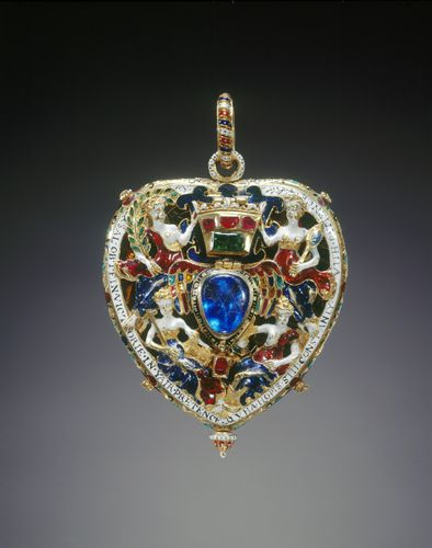 The Darnley Jewel or Lennox Jewel c. 1571-8 Mary, Queen of Scots' Outer Chamber, Palace of Holyroodhouse Gold, enamel (émail en ronde bosse, émail basse-taille), Burmese rubies, Indian emerald and cobalt-blue glass | 6.6 x 5.2 cm (whole object) | RCIN 28181 ? SCOTLAND