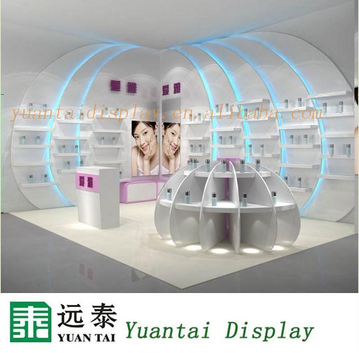 Fashion slat wall cosmetics display cabinet , wood makeup display stand