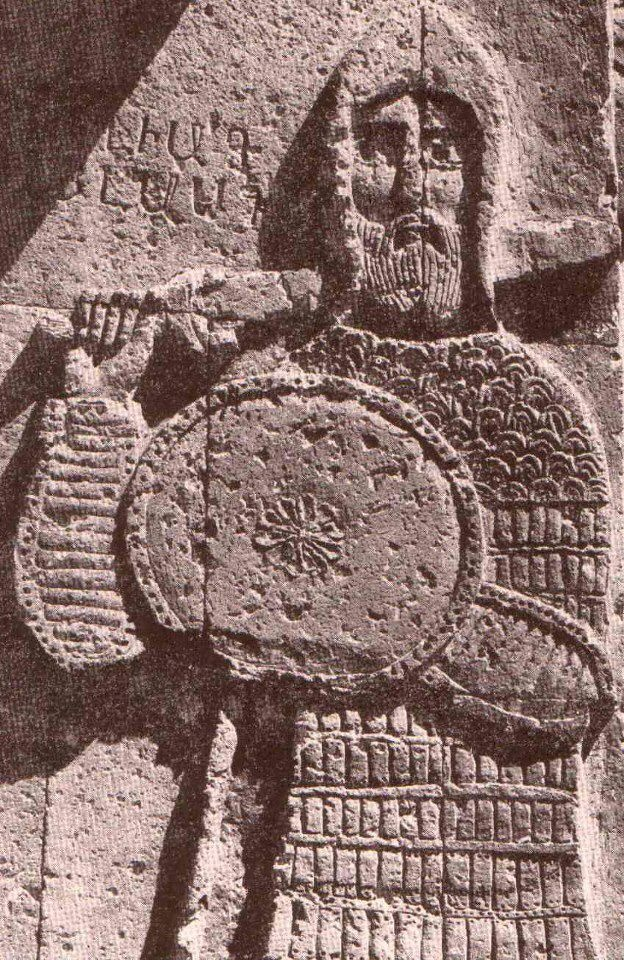 Armenian themed Goliath, dressed in medieval Armenian military attire, Armenian Cathedral of the Holy Cross on Akhtamar Island Van, Western Armenia (nowadays: Turkish republic)
