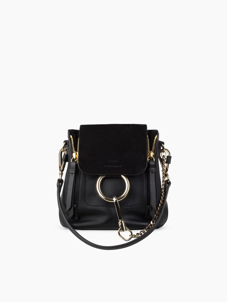 Mini Faye backpack in black smooth & suede calfskin from our Spring 2017 collection