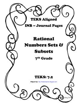 Interactive Math Journal Pages that align to the TEKS!This packet contains 1 INB page that can be used to teach the concept of Rational Number Sets and Subsets - TEKS 7.2-1 Guided Notes Page for Classifying Rational Numbers with Sets and SubsetsI have also included pictures to show what these journal pages look like in my INB.