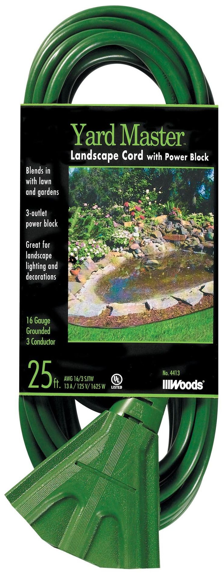Woods 984413 25-Foot Outdoor Extension Cord with 3-Outlet Power Block, Green