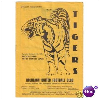 Holbeach United v Baldock Town 10/11/1984 Non League Football Programme Sale