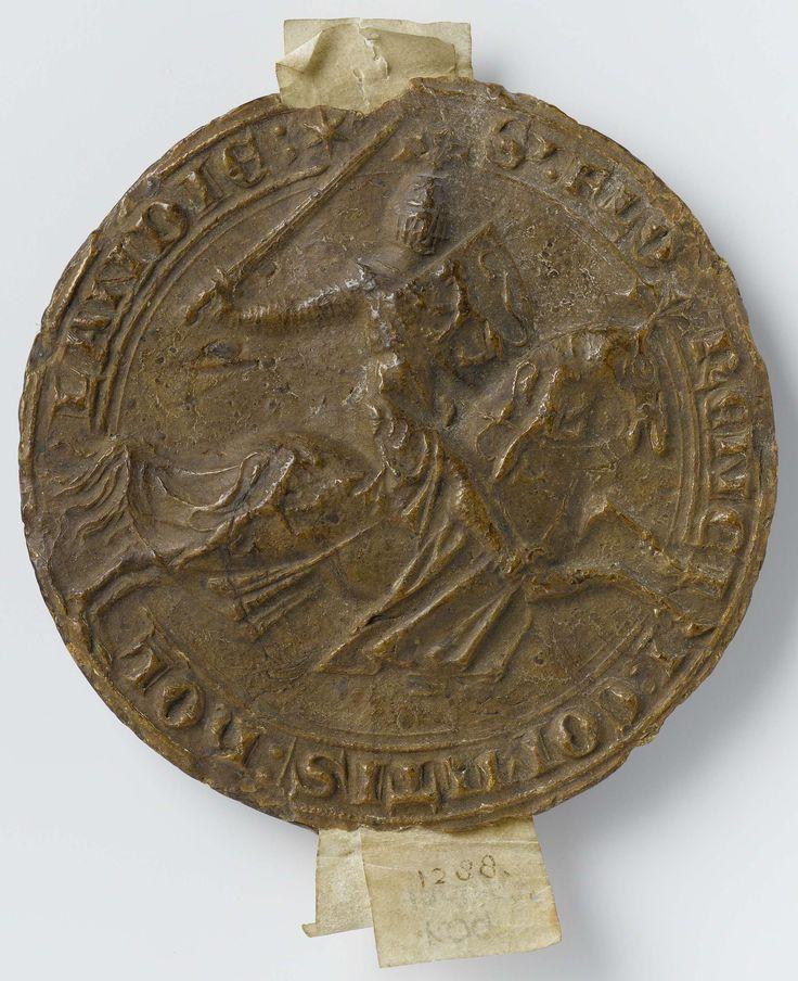 Anonymous | Wax seal of Floris, Count of Holland, Anonymous, c. 1266 - c. 1296 | Zegel met tegenzegel in bruine was van graaf Floris V van Holland. Voorzijde: een naar rechts galopperend paard met een man in volle wapenrusting. De man heeft een zwaard in de opgeheven rechterhand en in de linkerhand een 'petit écu' met heraldisch embleem. Keerzijde: wapenschild.