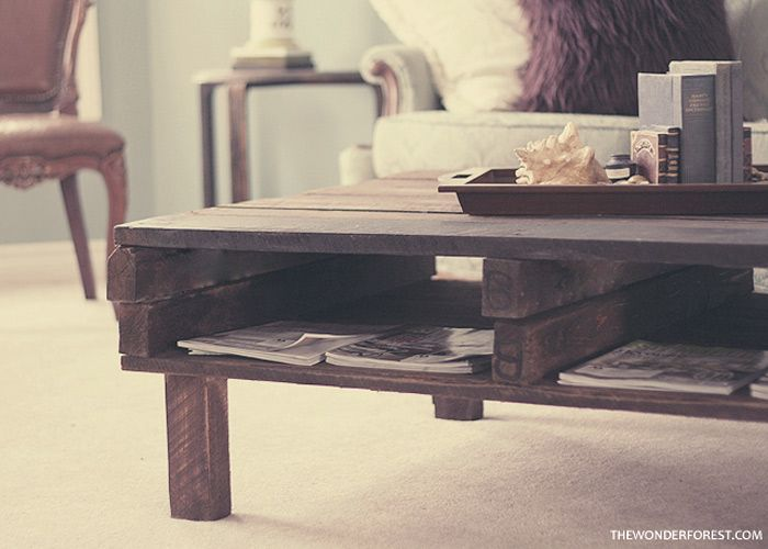 When I started the project I'm about to share with you, I had no idea what I was doing or how it would turn out. Luckily, I am thrilled with the results:  This rustic looking coffee table was made with just two pallets. There had been a bunch of pallets stashed next door as they had just fi