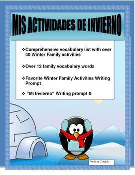 #winterspanishsale.  This interactive Winter activity will allow you to review family vocabulary and typical Winter  activities.  It is a great way to introduce AR/ER/IR  verbs and combine it with Likes/Dislikes of family members.It contains-Over 40 Winter activities including the translation keys -Over 12 family member vocabulary word-Me gusta-Family activities page.