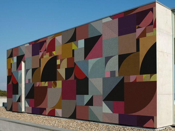 Carta da parati geometrica per esterni BAUHAUS by Wall&decò design Giovanni Pagani