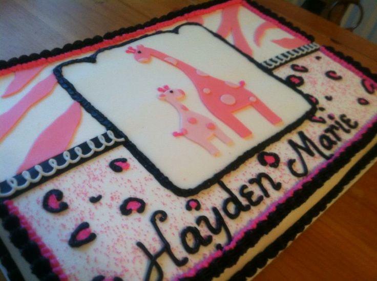 Superior Safari%252Bgirl%252Bbabyshower%252Bcake%252B2 Safari Girl Baby Shower  Invitations Pink Green