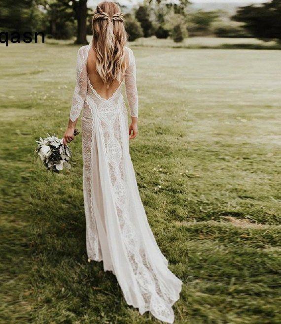 Elegant A-line chiffon lace wedding dress,open back bohemian wedding dress,bohemian bridal gown with illsusion nude neckline
