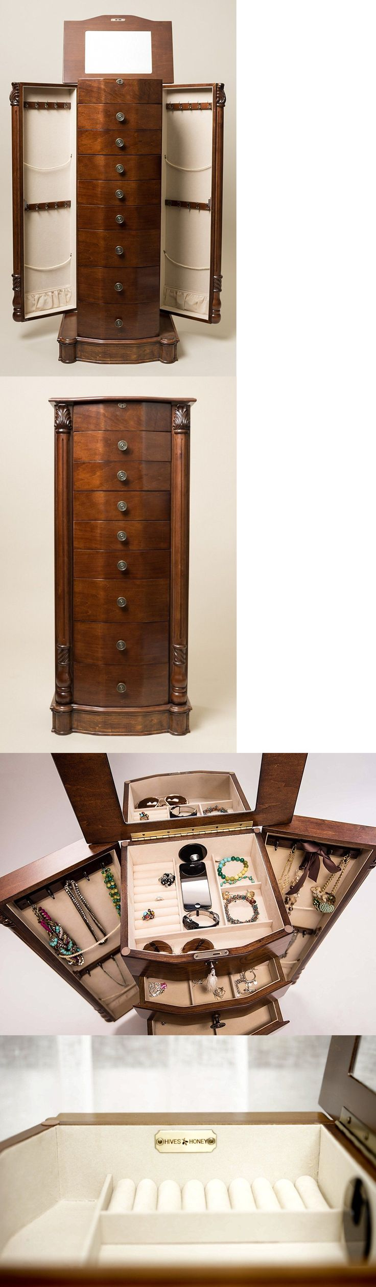 Jewelry Boxes 3820: Tall Jewelry Armoire Chest With Mirror Brown Wood Storage Cabinet Stand Box BUY IT NOW ONLY: $241.64