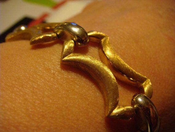 1965 Vintage 18k Bi-color gold chunky Bracelet Italian Goldsmith Francesco Nicolosi Art Deco Jewlery