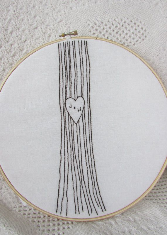 Ive always been conflicted about carving initals in a tree. One on hand it seems so romantic... on the other, I couldnt bring myself (or allow my true love) to desecrate a living tree. With this pattern you can have the best of both worlds: a romantic gesture without harmful affects on nature. :)  In the pattern the heart is left blank so you can personalize the initials.  This 3 page pdf file includes the Initials in a Tree embroidery pattern, the pattern reversed, as well as a color…