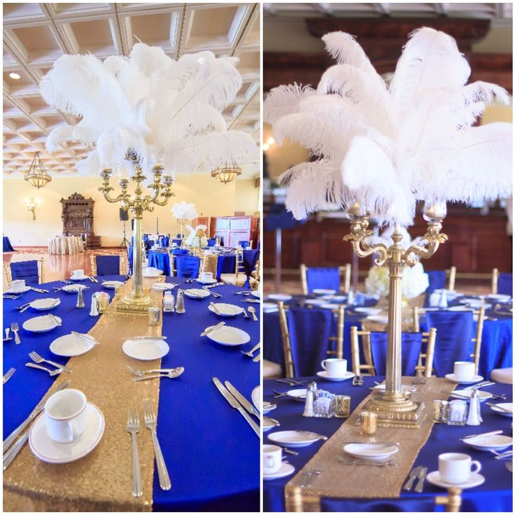 Gatsby inspired centerpieces for Anna and Monzeil at White Clay Creek Country Club.