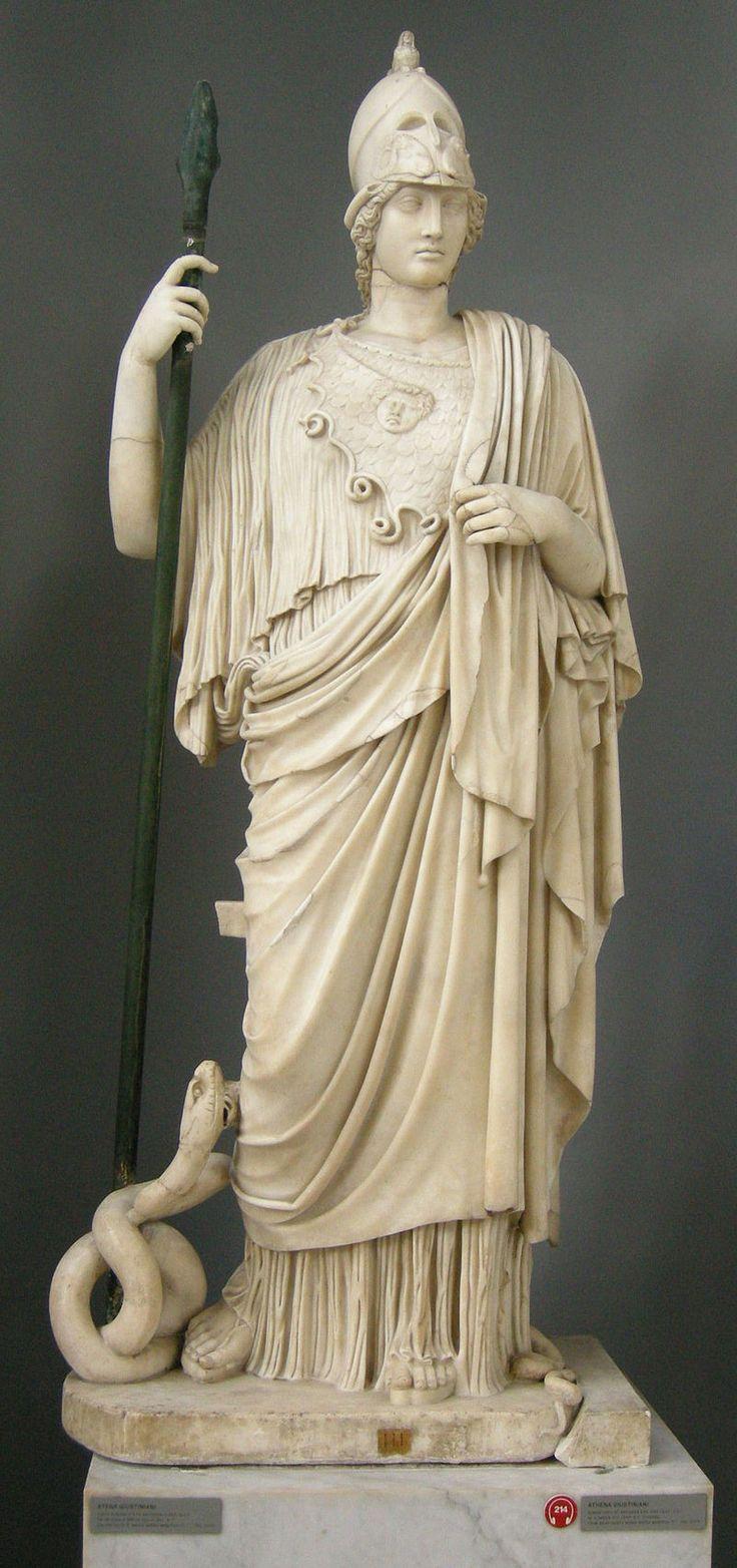在羅馬神話中與雅典娜相對應是彌涅耳瓦(拉丁語:Minerva)。雅典娜是希臘神話中少有的處女神,與阿蒂蜜斯、赫斯提亞並稱為希臘三大處女神,備受希臘人民崇拜,尤其是雅典人,而雅典衛城是以她命名並受她守護的。
