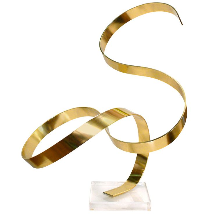 Serpentine Sculpture by Dan Murphy  USA  1978  Serpentine sculpture on lucite base signed Dan Murphy@ 1978. One single blade of anodized aluminum is strategically formed into an elegant sculpture