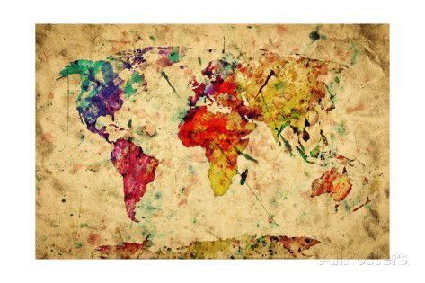 Mapa-múndi, vintage  Impressão artística
