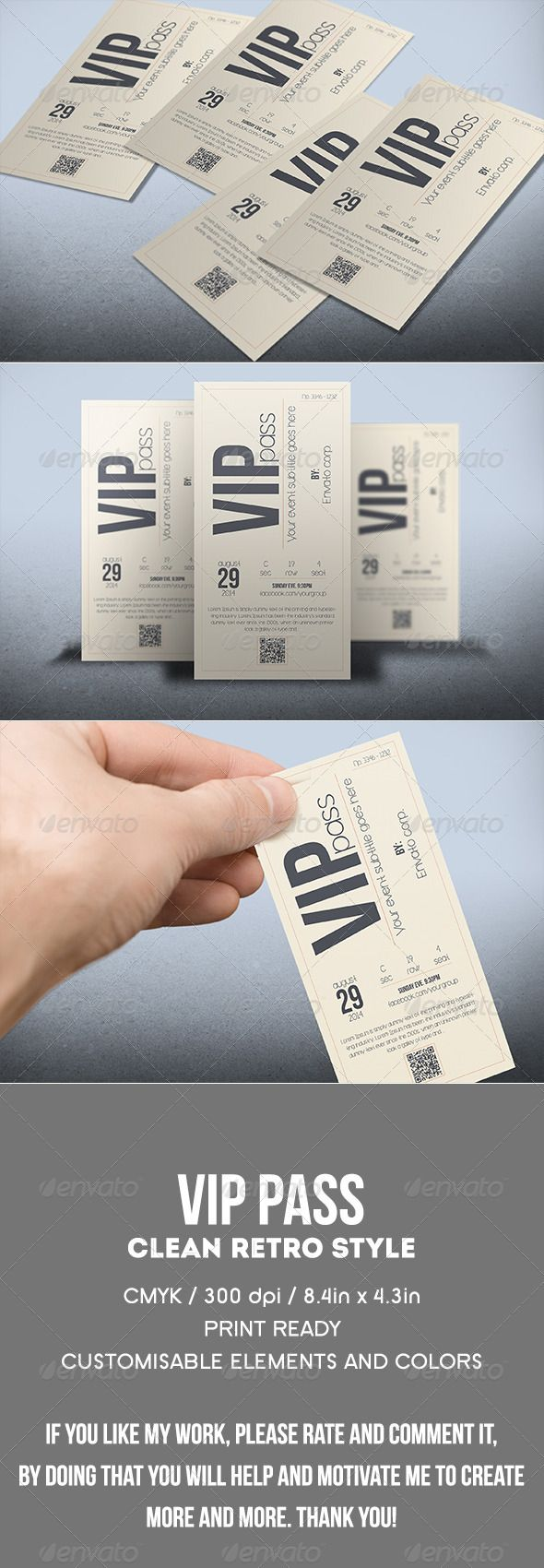 Multipurpose retro VIP PASS #graphicriver