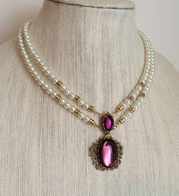 Anne Boleyn Double Strand Amethyst Necklace gold by DBakerJewelry