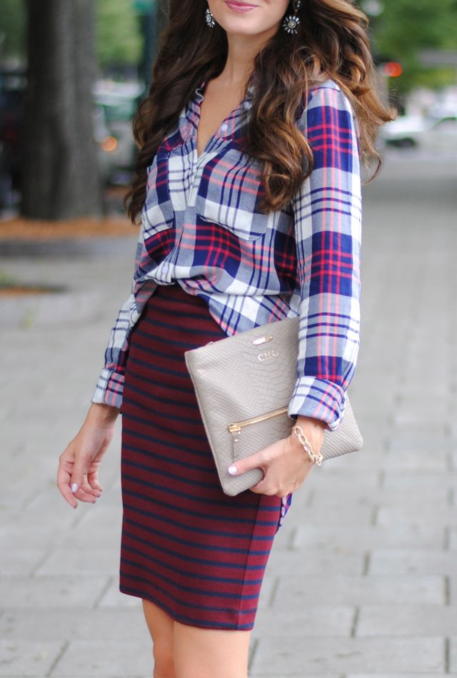 Mixing plaid with stripes… love!