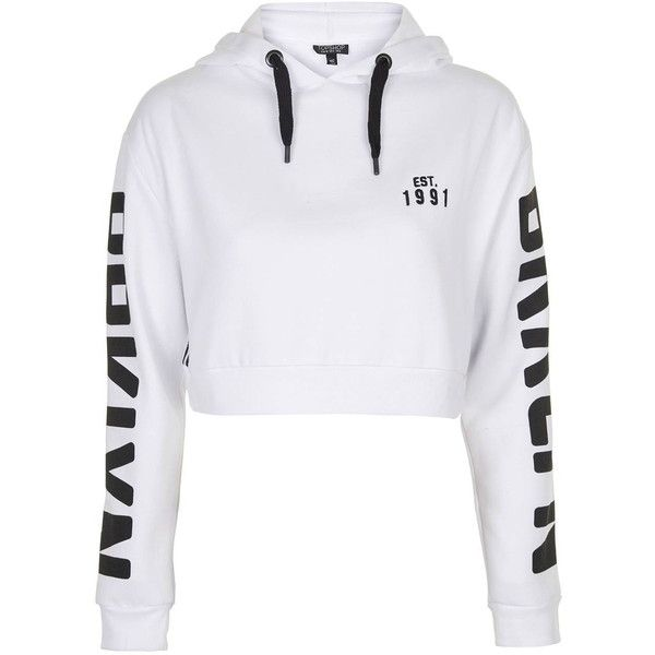 TopShop Brooklyn Sports Hoodie ($55) ❤ liked on Polyvore featuring tops, hoodies, jumpers, white, hooded pullover, sport top, topshop tops, sport hoodies and white top